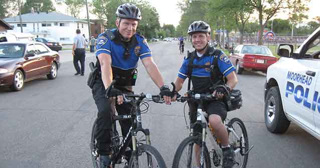 Two Bike Patrol Police Officers