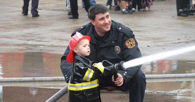 Firefighter and Kid