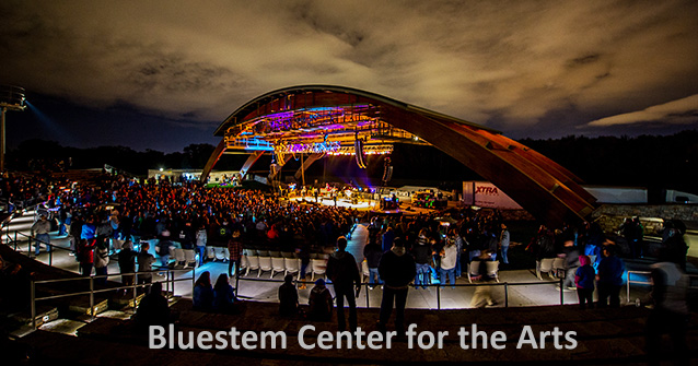 Bluestem Center for the Arts concert at night