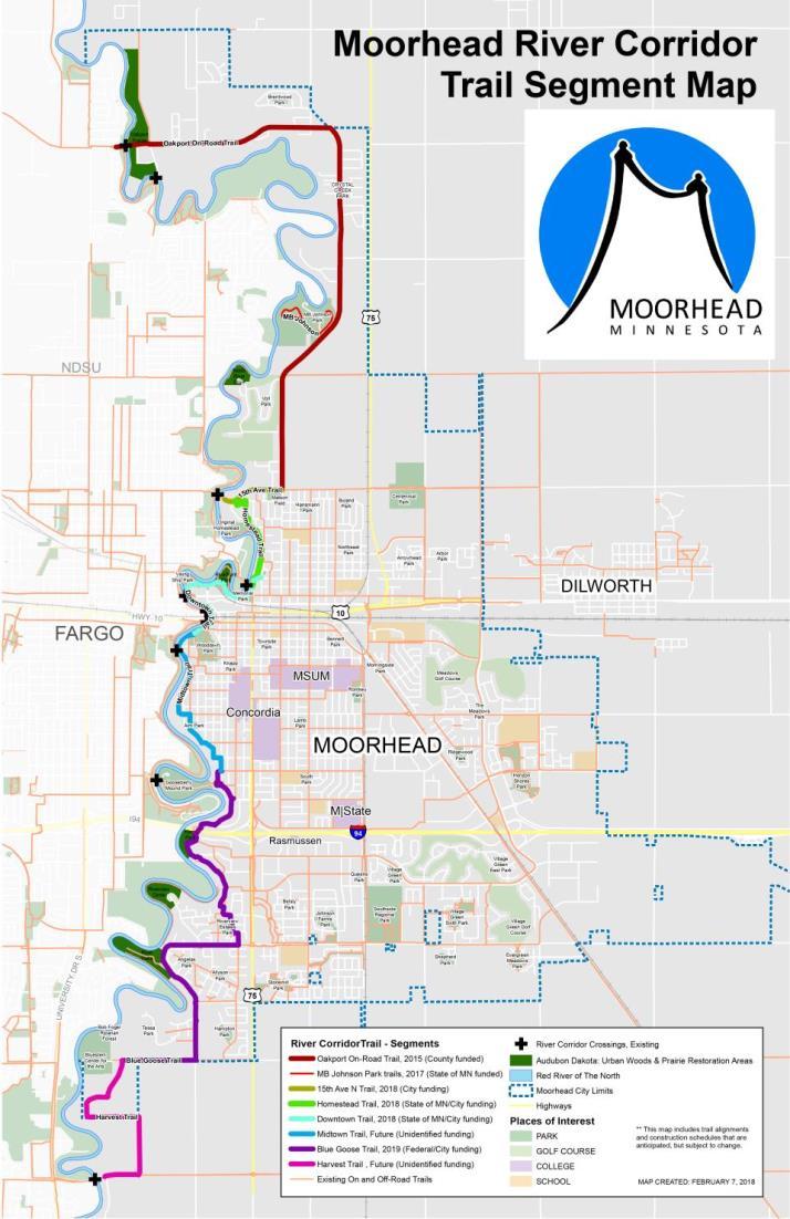Fargo Minnesota Map.City Of Moorhead Parks Tracks Trails Maps