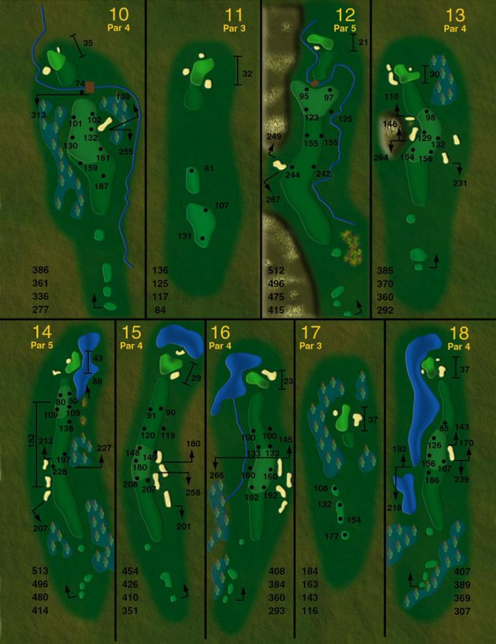 course layout holes (back nine)